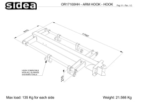 OR 17100HH Arm Hook Hook_DISEGNO TECNICO QUOTATO